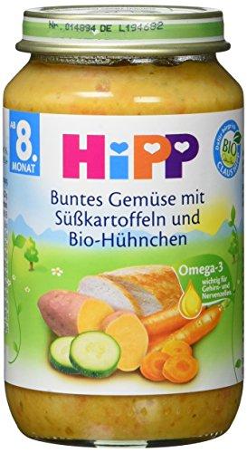 Hipp Buntes Gemüse mit Süßkartoffeln und Bio-Hühnchen, 6er Pack (6 x 220 g) - Bio