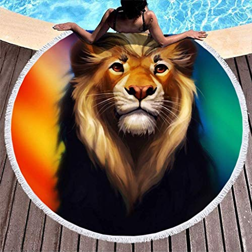Cool Rainbow Lion Big Cat Animal Print Thick Round Beach Towel with Tassels Abstract Fringe Couch Cover White 59 inch-White-59 inch