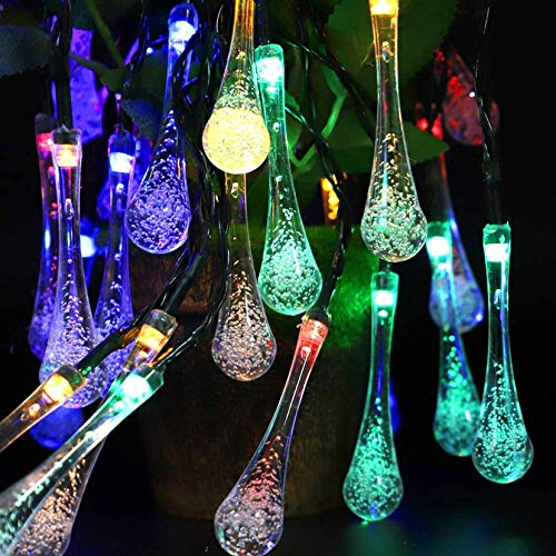 Solar Lights Water Drop Lights - 20 Feet 30 LED Fairy Tear Drop Lights with 8 Modes - Waterproof Crystal Lights for Garden Patio Yard Home Bar Party Christmas Decor