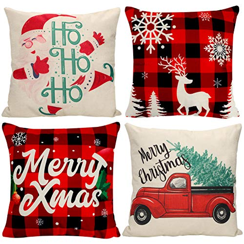 Morfone Christmas Decoration Throw Pillow Covers 18 x 18 inch, 4 PCS Cotton Linen Buffalo Plaid Cushion Cover Holiday Decorative Pillowcase for Xmas Gift Home Sofa Bed Car