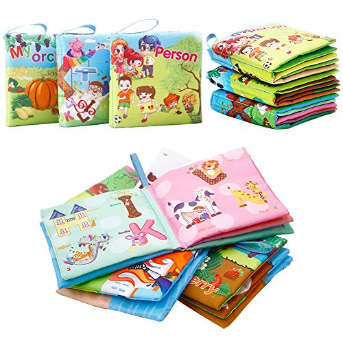 FunsLane Soft Cloth Books for First Year Babies, Non-Toxic, Fabric Colorful Crinkle Books, Baby Gift Educational Toys, Baby Shower Present for Boys and Girls(Pack of 3)