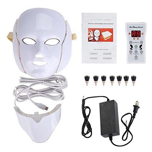 LED Maschera viso, 7 colori chiari Pelle Ringiovanimento maschera antietà per Acnes Spot Rughe Beauty (EU) (欧规)
