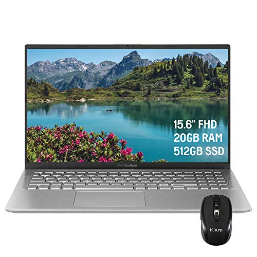 2020 Flagship ASUS VivoBook X512DA 15 Laptop Computer 15.6' FHD Display AMD Quad-Core Ryzen 5 3500U (Beats i7-7500U) 20GB DDR4 512GB SSD Webcam AMD Radeon Vega 8 Win 10 Pro + iCarp Wireless Mouse