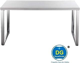 DG DEXAGLOBAL Steel Office Desk (White Top) Stainless Steel Legs: Home & Kitchen