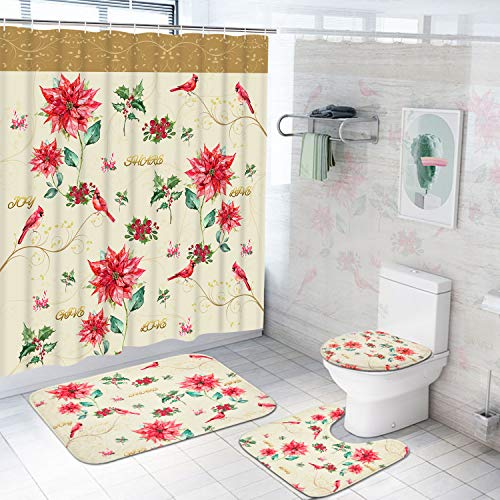 Dekoresyon 4 Pcs Christmas Shower Curtain Sets with Non-Slip Rugs, Toilet Lid Cover and Bath Mat, Red Watercolor Berry Flower Shower Curtain with 12 Hooks, Waterproof Cardinal Bird Bathroom Curtain