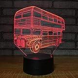 3D-Nachtlicht, Nachtlampe, Illusionslicht, Schlafzimmerbeleuchtung am Bett, Doppeldecker-Tourismusbus Individuelles Geschenk für die Automobilindustrie Neuheit Halloween-Weihnachtsgeschenk