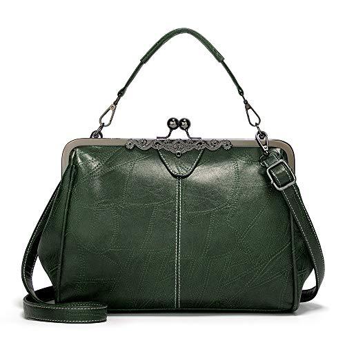 Vintage Kiss Lock Handbags for Women Oil Leather Evening Clutch Satchel Purse Tote, Dark Green, 1