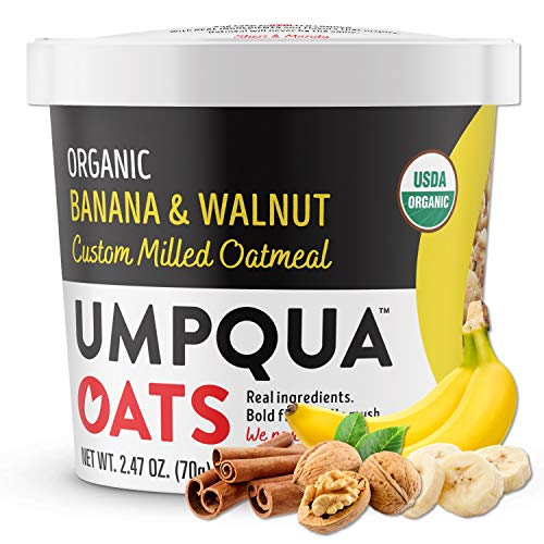 Umpqua Oats | Organic Oatmeal | All Natural, Premium Oat Cups | No Mush, Custom Milled | Non-GMO (8 count) (Organic Banana Walnut)
