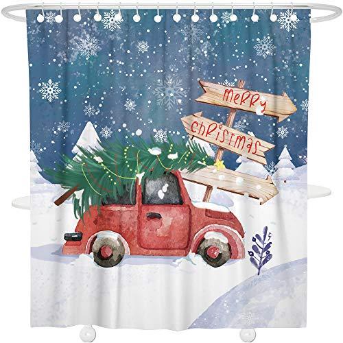 Bonsai Tree Merry Christmas Tree Shower Curtain Year Ornaments Bathroom Decoration Decor Waterproof Polyester Snowflake Christmas Car Bath Curtain with Hooks,72x72