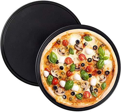 CYSJ 2 PCS Teglie per Pizza, Vassoio per Forno per Pizza Professionale, Vassoio per Pizza Tondo Nero Spesso, Vassoio per Pizza in Carbonio per Alimenti è Pratico, Adatto per la Cucina di Casa