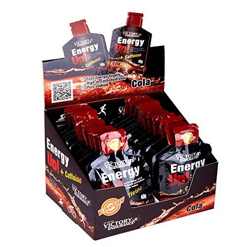 VICTORY ENDURANCE Energy Up Gel Cafeína Sabor Cola, con cafeína, con plus de sodio, Energía inmediata, 40 g (Paquete de 24) (WVE.129130)