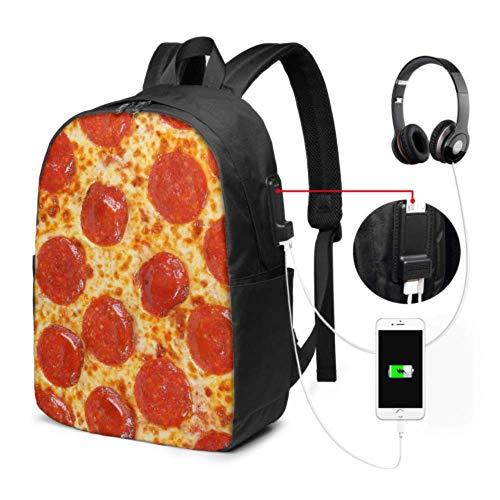 Bolsas universitarias para niña Fresh Italian Classic Original Pepperoni Pizza Bac Daypack para niñas con puerto de carga USB y puerto de auriculares para la universidad, el trabajo y los viajes