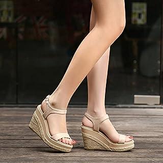 b321861071 KPHY Verano Paja Cuerda De Cañamo Pendiente De Tacon Grueso Tacon Roma  Sandalias Zapatos 10Cm Hebillas