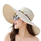 MYSNKU Womens Big Bowknot Straw Hat Large Floppy Foldable Roll up Beach Cap Sun Hat Summer UV Protection Beach Cap (Beige)