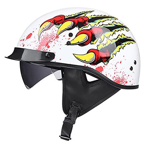 HBRE Retro Moto-Casco Certificado CE,Integral Casco De Seguridad con Forro ExtraíBle Y Transpirable,para Deportes Al Aire Libre Adecuado para 55-62cm,4,XL