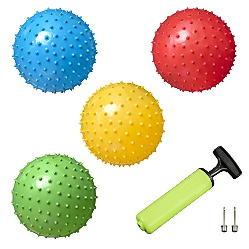 New Bounce Spiky Message Bouncing Balls (Set of 4) Plus 2 Pins & Pump for Kids Play Durable Indoor/Outdoor Toys for Children|Fun Gift Idea for Birthday Parties, Sports Activities & Piñatas