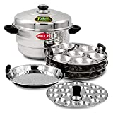 IBELL IP21P3SM High Food Grade Idly Pot Stainless Steel with Steamer and Mini 3 Idlis Plates (21 Idlyes)