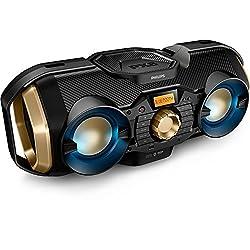 Philips Bluetooth Boombox Speaker – Rugged, Portable, Wireless Radio, USB, AUX, and CD Music Player - 50 Watt, Dynamic Bass, Digital Display, Light Up Speaker - Model PX840T