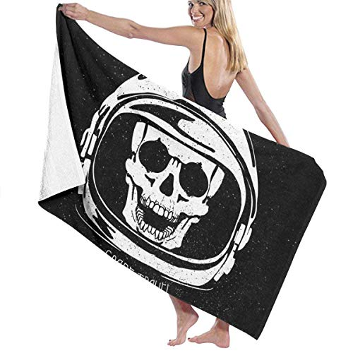 AGHRFH - Toallas de Playa para Mujer y Hombre, diseño de Calavera, Casco de Astronauta, Toalla de baño, Secado rápido, Multiusos, Manta de Piscina de Viaje Grande de 31 x 51 Pulgadas