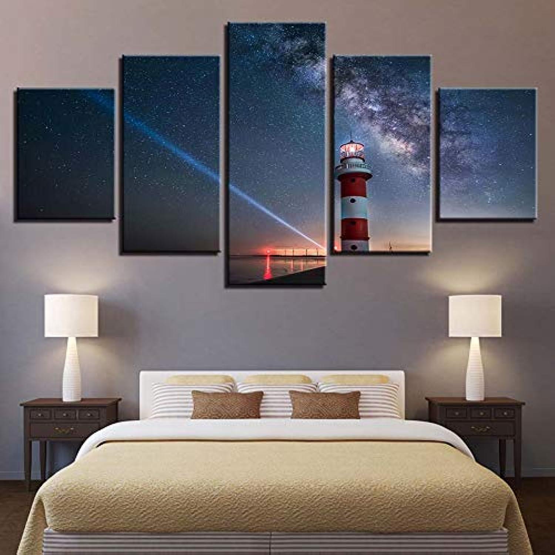 GUDOJK Modular He Decor HD Impreso Lienzo Arte de la Parojo Fotos 5 Piezas Faro Cielo Estrellado Noche Paisaje PinturasPosters 20x35 20x4520x55cm