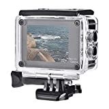 Action Cam Dual Touchscreen, 130 ° grandangolo Action Camera 4K Ultra HD 12MP WiFi Telecomando, set di telecamere sportive anti-agitazione per la visione notturna incl.Accessori alloggiamento telecoma