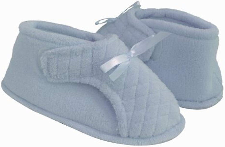 Womens Adjustable Bootie Slipper (S, Light bluee)