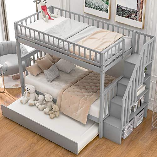 SONGYU Literas Twin sobre Twin, con 4 Compartimentos y barandillas, Litera de Madera Maciza con Nido de Escalera y cajones de Almacenamiento, para niños y Adolescentes,