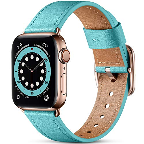 Oielai Correa de Cuero Compatible con Apple Watch Correa 38mm 40mm 42mm 44mm, Suave Genuino Cuero Reemplazo Correa para iWatch SE/Series 6 5 4 3 2 1, 38mm/40mm, Azul Claro