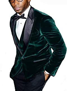 Groomsmen Peak Black Lapel Groom Tuxedos Green Velvet Men Suits (Jacket+Pants+Tie+Vest)