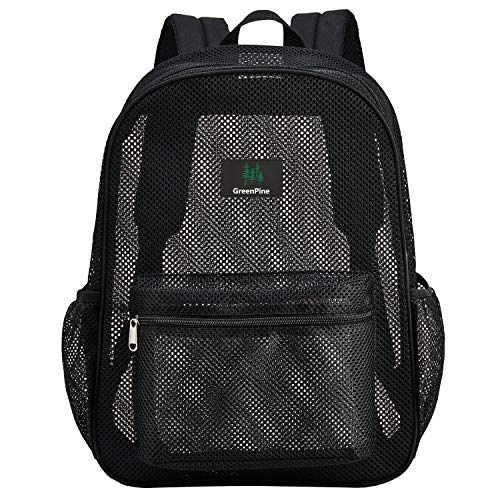 Heavy Duty Semi-Transparent Mesh Backpack, See Through College Student Backpack with Padded Shoulder Straps for Commuting, Swimming, Travel, Beach,...