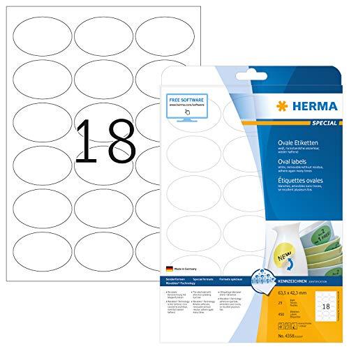 HERMA 4358 Universal Etiketten DIN A4 ablösbar (63,5 x 42,3 mm, 25 Blatt, Papier, matt, oval) selbstklebend, bedruckbar, abziehbare und wieder haftende Adressaufkleber, 450 Klebeetiketten, weiß