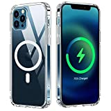 Sproerden Clear Magnetic Case for iPhone 12/12 Pro 6.1, Soft Silicone TPU Magnetic Case Compatible with MagSafe Charger Magnetic Wireless Charging and Magnetic Holder