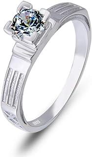 lem Abrillantador de anillosSet de Anillos de Boda para Mujer en Plata de Ley 925 Personalizar Letras para los Amantes