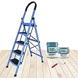 Plantex Premium High Grade Steel Folding 5 Step Ladder for Home - 5 Wide Anti Skid Steps (Blue &...