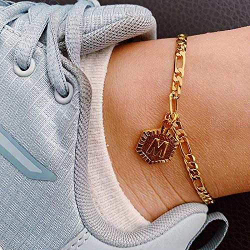 ZBXCVZH Summer Hexagon Alphabet Leg Bracelets For Women Foot Jewelry Stainless Steel Feet Chain Friendship Gifts Letter Initial Anklet (Metal Color : H)