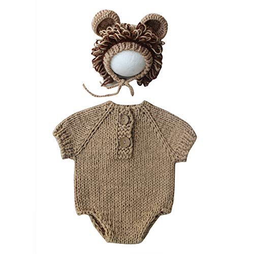 Damohony pasgeborenen fotografie kinderen prop leeuw pak kleding breien voor foto's geschenk baby hoed