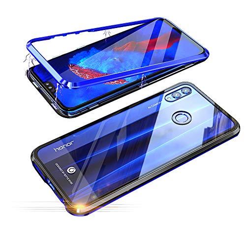 Jonwelsy Funda Huawei Honor 8X (6,5 Pulgada), Fuerte Tecnología de Adsorción Magnética Metal Bumper, Cubierta Trasera de Transparente Vidrio Templado Ultra Delgado Case Cover (Azul/Negro)