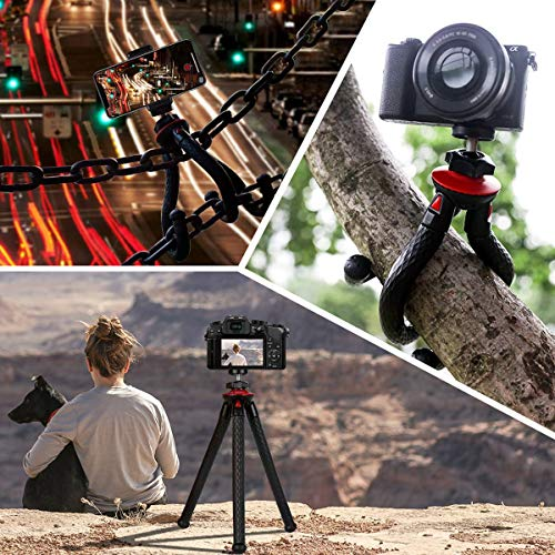 Tripods for Phone, Fotopro Flexible Tripod with Bluetooth for iPhone 11 XS,Samsung S9, Waterproof and Anti-Crack Camera Tripod for GoPro, 360 Degree Travel Tripod for Live Streaming Vlog Video