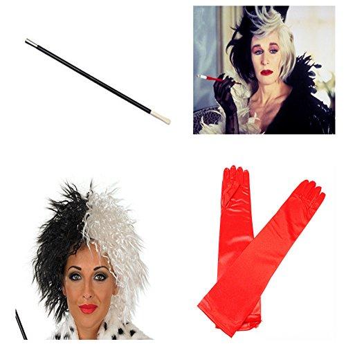 Card and Party Store Cruella de Ville Halloween Fancy Dress Perruque Fume-Cigarette Long Rouge Gants KIT1