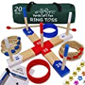 Yards of Fun Ring Toss Game Set - Family, Adults & Kids - 20 Rope & Plastic Rings, Scorecard, Stickers, Zip Bag, Rules, Start Line. A Fun Indoor & Outdoor Game. Elite, Durable, Wooden Toy for Backyard from Yards of Fun