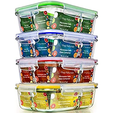 Glass Meal Prep Containers 3 Compartment - Food Containers Meal Prep Food Prep Containers Lunch Containers Glass Containers with lids Freezer Containers Bento Box Containers Bento lunch Box [4pk,34oz]
