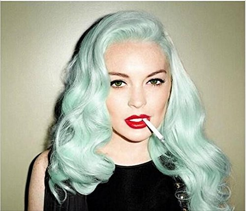 Melody Wig Green Blue Lace Front Wig - Body Wave Synthetic Lace Front Wigs For Women 180% Density Half Hand Tied Heat Resistant Fiber Hair 24''