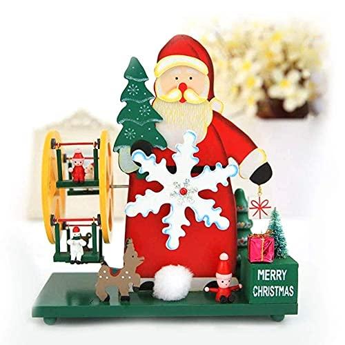 Caja de música navideña para niños Muñeco de Nieve Cielo en Forma de Rueda Estatuilla de Escritorio de Madera Adorno Forma de árbol de Navidad en Miniatura Mecanismo Creativo de decoración de Mesa pa