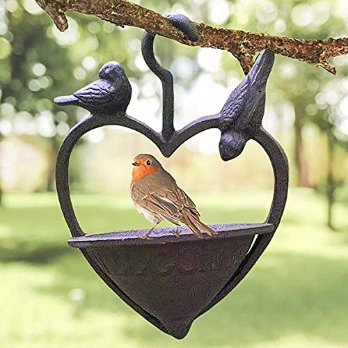 garden mile Vintage Style Decorative Cast Iron Love Heart Hanging Bird Feeder Bird Bath, Bronze feeding station bird table seed feeder Hanging Garden Ornament