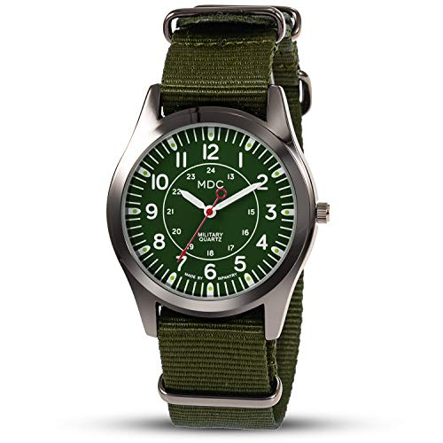Herrenuhr Grün Outdoor Armbanduhr Herren Uhren Männer Militär Männeruhr Herrenarmbanduhr Taktische Arbeitsuhr Fliegeruhr Armee Leuchtzeiger mit NATO Nylon Armband by MDC