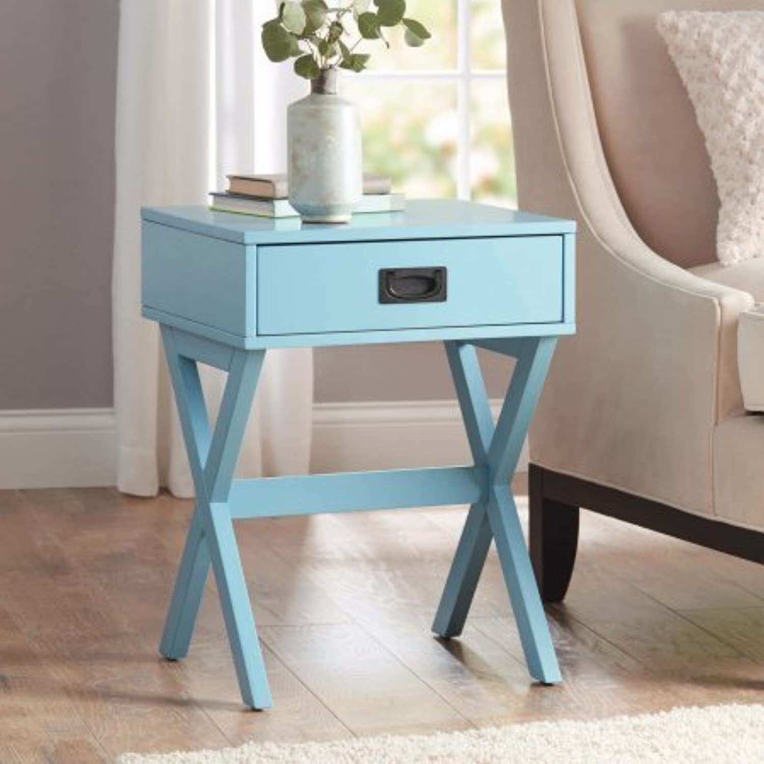 Modern & Stylish X-Leg One-Drawer Accent  Side Table or Nightstand in TEAL, 24-in (61cm) High