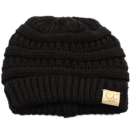 Kids Ages 2-7 Warm Chunky Thick Stretchy Knit Slouch Beanie Skull Hat Black