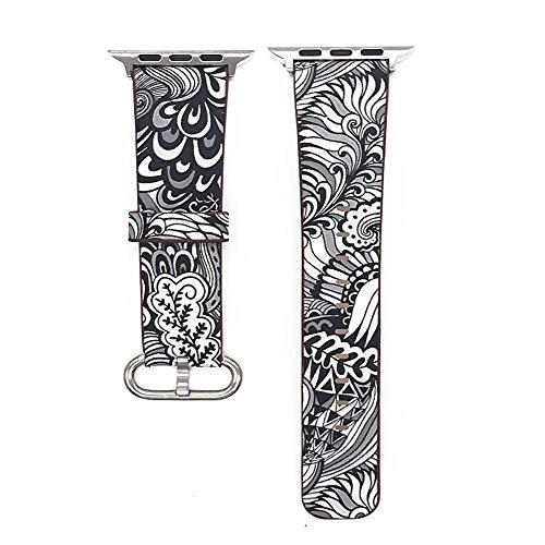 Hspcam Correa de piel con estampado floral para iWatch 4, 5, 40 mm, 44 mm, compatible con Apple Watch de 42 mm, 38 mm, Serie 1, 2 3 (44 mm, negro-blanco)