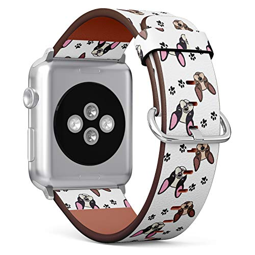 French Bulldog on Floral Pattern - Patterned Leather Wristband Strap Compatible with Apple Watch Series 4/3/2/1 38mm/40mm
