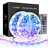 MINGER 32.8ft LED Strip Lights with Remote, RGB Color Changing Light Strips with 5050 LED Lights, Cutting Design, Back Adhesive for Bedroom, Living Room, Kitchen, 12V/3A Adapter, Non-Waterproof (2x5m)